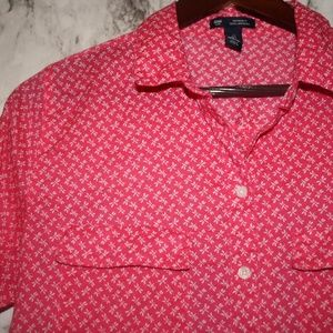GAP Dragonfly Red & White Button Down Top Small